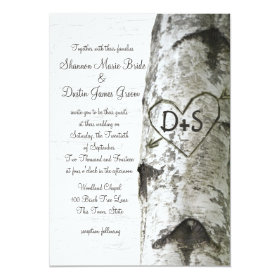 Carved Heart Birch Tree Wedding Invitation