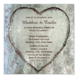 Carved Heart Birch Tree Wedding Rehearsal Dinner 5.25x5.25 Square Paper Invitation Card