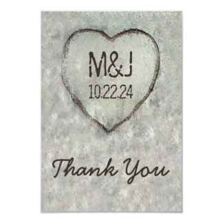 Carved Heart Birch Tree Wedding Thank You Card