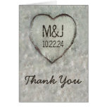 Carved Heart Birch Tree Wedding Thank You Stationery Note Card