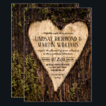 """Carved Heart Country Rustic Tree Wedding Invitation<br><div class=""""desc"""">Wood Carved Heart Country Rustic Tree Wedding Invitation</div>"""