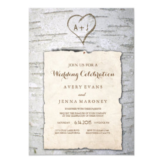 Carved Heart in Tree Pinned Wedding Invitation