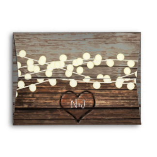 Carved Heart in Wood & String Lights Rustic Envelope
