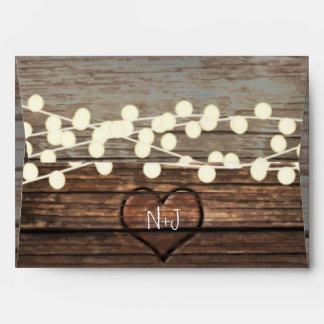 Carved Heart in Wood & String Lights Rustic Envelope