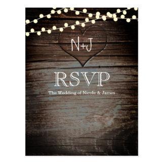 Carved Heart in Wood & String Lights Rustic RSVP Postcard