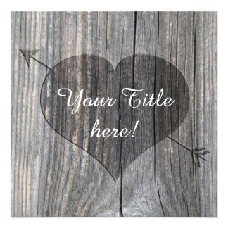 Carved Heart On Wood - Square greeting Cards