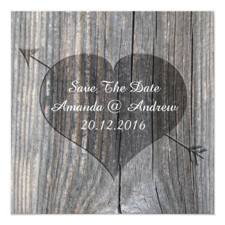 Carved Heart On Wood - Square Save The Date Card