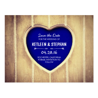 Carved heart rustic country save the date postcard