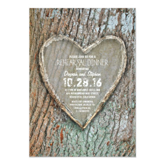 Carved heart rustic country tree rehearsal dinner 5x7 paper invitation card