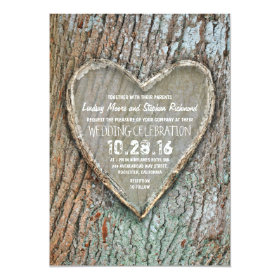 Carved heart rustic country tree wedding invites