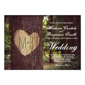 Carved Heart Rustic Tree Wedding Invitations