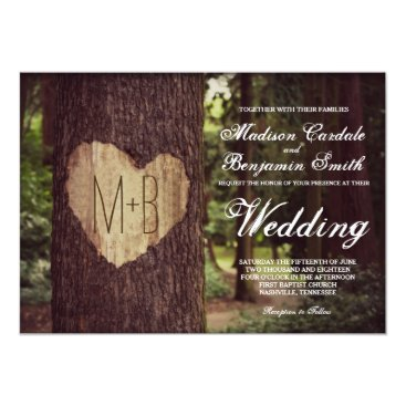 Valentines Themed Carved Heart Rustic Tree Wedding Invitations