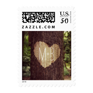 Carved Heart Rustic Tree Wedding Postage Stamps
