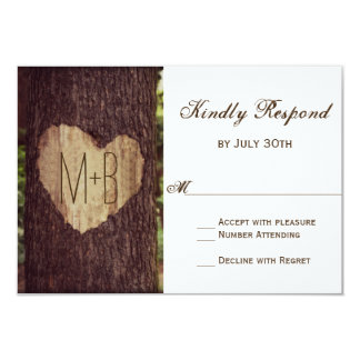 Carved Heart Rustic Tree Wedding RSVP Cards