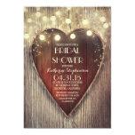 carved heart string lights wooden bridal shower card