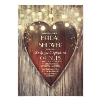 carved heart string lights wooden bridal shower card