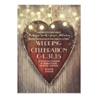 carved heart string lights wooden wedding invites