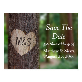 Carved Heart Tree Initials Save The Date Wedding Postcard