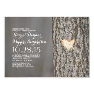 carved heart tree rustic country rehearsal dinner card
