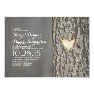 carved heart tree rustic country wedding card