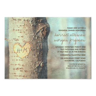 carved heart tree rustic rehearsal dinner card