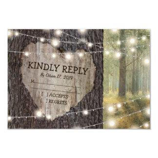 Carved Heart Tree Wedding RSVP Card