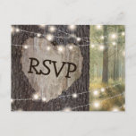 """Carved Heart Tree Wedding RSVP Invitation Postcard<br><div class=""""desc"""">Rustic outdoor wedding rsvp postcards with a romantic woodland setting, string twinkle lights, an old rustic tree with a carved heart and your response details. Click on the """"Customize it"""" button for further personalization of this template. You will be able to modify all text, including the style, colors, and sizes....</div>"""
