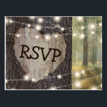 "Carved Heart Tree Wedding RSVP Postcard<br><div class=""desc"">Rustic outdoor wedding rsvp postcards with a romantic woodland setting, string twinkle lights, an old rustic tree with a carved heart and your response details. Click on the ""Customize it"" button for further personalization of this template. You will be able to modify all text, including the style, colors, and sizes....</div>"