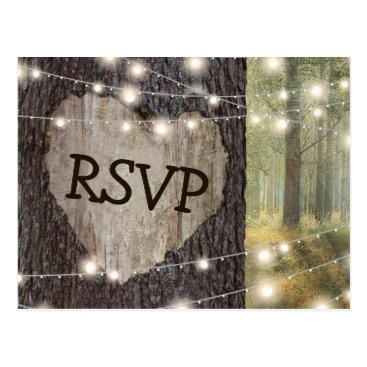 Valentines Themed Carved Heart Tree Wedding RSVP Postcard