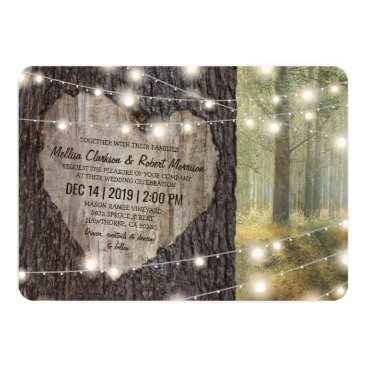 special_stationery Carved Heart Tree Wedding | Rustic String Lights Card