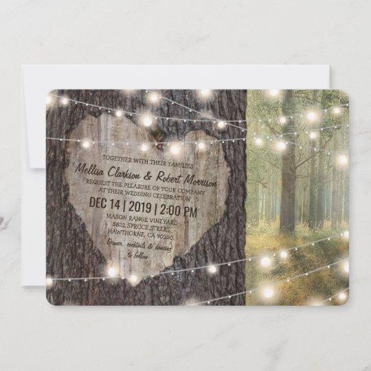 Carved Heart Tree Wedding   Rustic String Lights Invitation