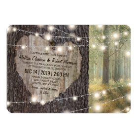 Carved Heart Tree Wedding | Rustic String Lights Invitation