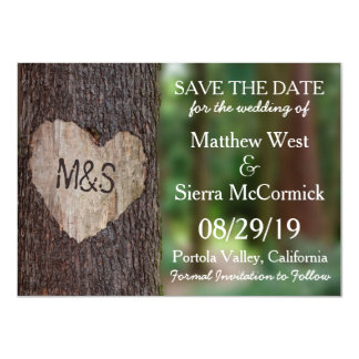 Carved Heart Tree Wedding Save The Date Card