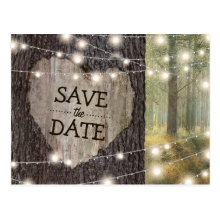 Carved Heart Tree Wedding | Save the Date Postcards