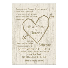 Carved Heart Wedding 5x7 Paper Invitation Card