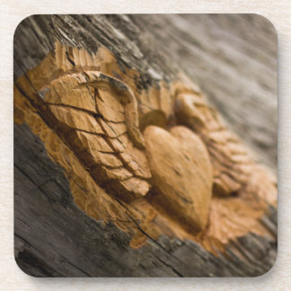 Carved Heart with Wings Drink Coaster