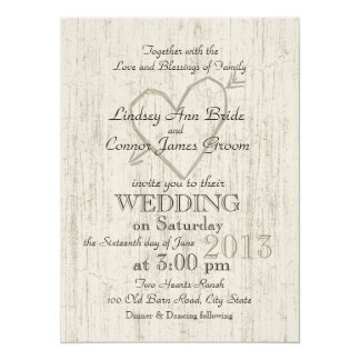 Carved Heart Wood Look Wedding 5.5x7.5 Paper Invitation Card