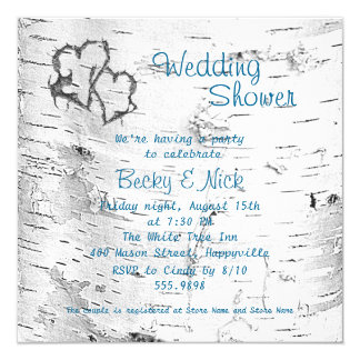 Carved Hearts Birch Bark Wedding Shower 5.25x5.25 Square Paper Invitation Card