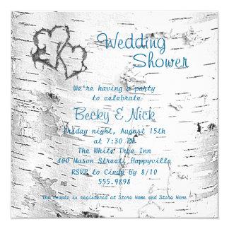 Carved Hearts Birch Bark Wedding Shower Invitation