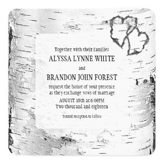 Carved Hearts Birch Tree Bark Wedding Invite