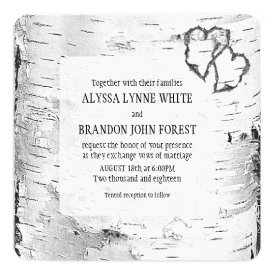 Carved Hearts Birch Tree Bark Wedding Invite 5.25