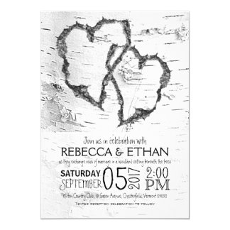 Carved Hearts White Birch Typography Wedding Card
