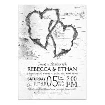 Carved Hearts White Birch Typography Wedding Invitation