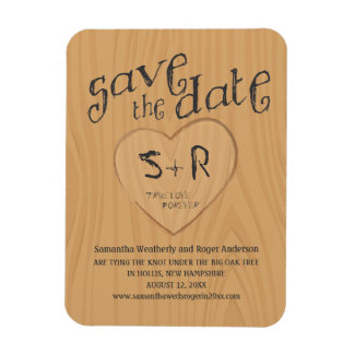 Carved Initals on Oak Tree Save the Date Magnet