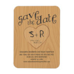 Carved Initals on Oak Tree Save the Date Rectangular Magnets
