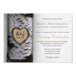 Carved Initials Birch Tree Wedding Invitations