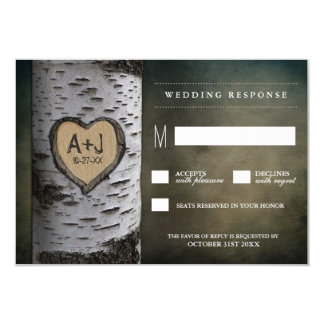 Carved Initials Birch Tree Wedding RSVP Cards