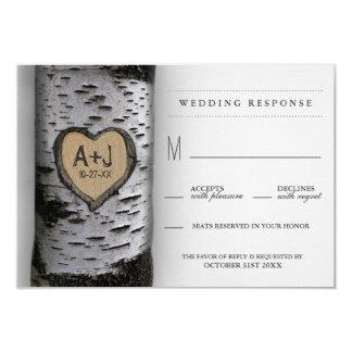 Carved Initials Birch Tree Wedding RSVP Cards