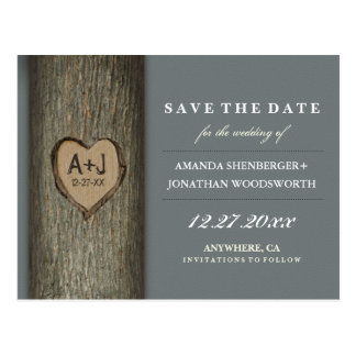 Carved Initials Heart Oak Tree Save The Date Cards