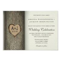 Carved Initials Heart Oak Tree Wedding Invitations
